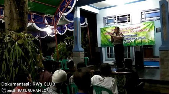 Sambutan Bhabinkamtibmas pada Kegiatan Pembinaan Kerukunan Warga Masyarakat Desa Pasuruhan Lor Kudus
